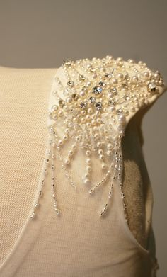 Brittany's Beautiful Scallop Beaded Vintage Style Wedding Dress - Avail & Company, LLC  Perfect for spring, fall, the beach, country, winter or vintage style wedding.  Flowy with scalloped beadwork in pearls and crystals with illusion back.