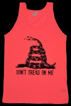 Don't Tread on Me Tee with Snake Neon Heather Pink AMERICAN Apparel Tank Top T Shirt Sizes XS - XL on Etsy, $13.99