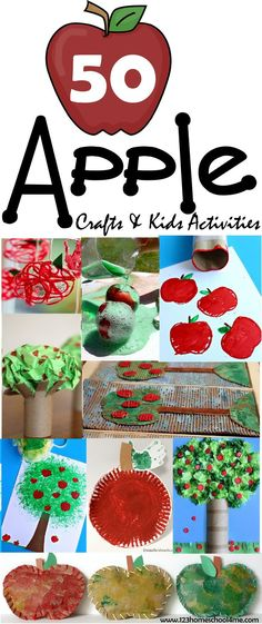 50 FUN Apple Crafts for Kids & Kids Activities - wow there are so many really unique fall crafts kids. Perfect September crafts for toddler, preschool, kindergarten and more!