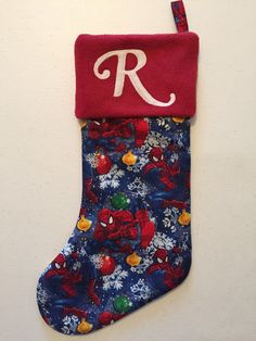 Spiderman Christmas Stocking by MLGsCrafts on Etsy