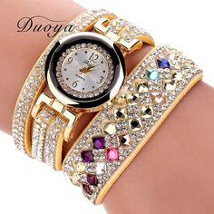Duoya 2017 New Brand Women Luxury Bracelet Watch Women Fashion Crystal Dress Wrist Watches Casual Vintage Gift Quartz Watch