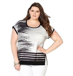AVENUE Womens Jacquard Graphic Striped Top 3032 Black White ** Check out the image by visiting the link.Note:It is affiliate link to Amazon.