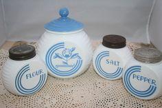 Fire King Vitrock Blue Circle Grease Jar Salt Pepper by UdellLane