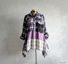 Purple Plaid Plus Size Top Lagenlook Clothing Layer Look Eco Friendly Shirt Up Cycle Fashion Artsy Art Clothes Boho CHic Tunic XL 1X 'JAMIE