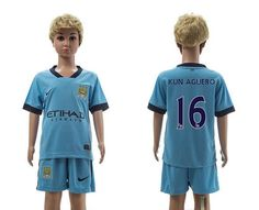 Manchester city home kids 16-14-15 Season Soccer Jerseys