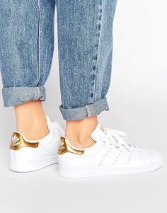 adidas Originals White And Gold Stan Smith Sneakers