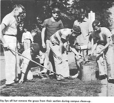 Sigma Epsilon brothers do their part during Campus Clean-up of Junior Weekend 1951. From the 1951 Oregana (University of Oregon yearbook). www.CampusAttic.com