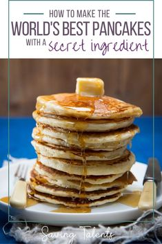 This easy breakfast recipe for the world's best pancakes comes with a family secret ingredient. Have delicious pancakes at every family gathering where a special breakfast recipe is needed. Pancakes For Dinner, Tasty Pancakes, Pancakes And Waffles, Breakfast For Dinner, Delicious Dinner Recipes, Brunch Recipes, Breakfast Recipes, Yummy Food, Cheap Recipes