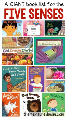you're teaching about the five senses to preschool and kindergarten, you need this giant book list of recommended reads!If you're teaching about the five senses to preschool and kindergarten, you need this giant book list of recommended reads! Five Senses Preschool, 5 Senses Activities, My Five Senses, Preschool Books, Kindergarten Science, Preschool Themes, Preschool Lessons, Preschool Classroom, Science Activities