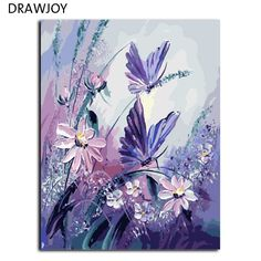 Frameless Pictures Painting By Numbers Handpainted On Canvas DIY Oil Painting By Numbers 40*50cm Butterfly