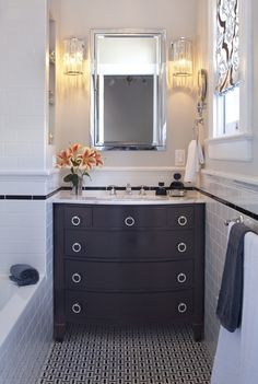 Cute vanity, lights and mirror!