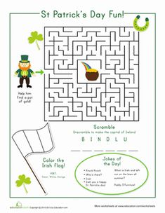 St. Patrick's Day First Grade Mazes Worksheets: St. Patrick's Day Fun