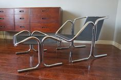 European Paint Finishes: Mid-century Jerry Johnson chrome and canvas sling lounge chair. mcm mad men vintage vtg