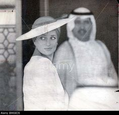 Prince And Diana Princess Of Wales -tour Of Gulf - March 1989 She Would Have Caused A Sensation Even At Ascot. In The Desert She Stock Photo
