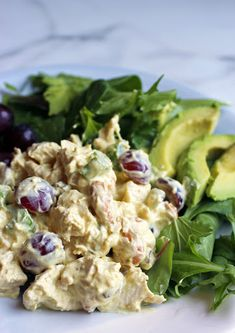 Curried Chicken Salad With Boneless Skinless Chicken Breasts, Greek Yogurt, Mayonnaise, Lemon Juice, Curry, Turmeric, Red Grapes, Chopped Celery, Golden Raisins, Cashew Nuts