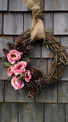 Summer Wreath - Floral pinecone wreath - Perfect for Spring and Summer! : Summer Wreath – Floral pinecone wreath – Perfect for Spring and Summer! Pine Cone Crafts, Wreath Crafts, Diy Wreath, Grapevine Wreath, Wreath Ideas, Pine Cone Wreath, Tulle Wreath, Burlap Wreaths, Deco Noel Nature