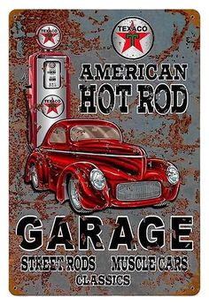 Mens T-Shirt, American Hot Rod Garage Sign, Ideal Gift Or Birthday Present.