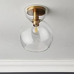 Bubble Glass Brass Flush Mount Light