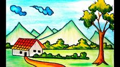 Nature Scene Drawing For Kids Village Nature Scenery