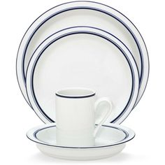 Dansk Dinnerware, Christianshavn Blue, 4-Piece Place Setting ($50) ❤ liked on Polyvore featuring home, kitchen & dining, dinnerware, no color, blue dinnerware, porcelain dinnerware, dansk and dansk dinnerware