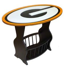 Green Bay Packers Logo End Table. Wonder if a beer bucket would fit in the bottom? ;)