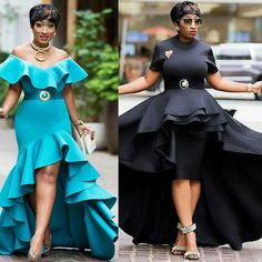 slaying both looks, Ladies which look would you rock? African Dresses For Women, African Fashion Dresses, African Women, Fashion Outfits, Dinner Wear, African Inspired Fashion, Gowns With Sleeves, Types Of Dresses, Elegant Outfit
