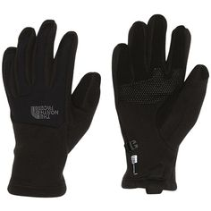 The North Face Womens Denali Etip Snow Glove ($38) ❤ liked on Polyvore featuring black, snow, snow gloves and womens snow gloves