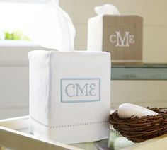 With K for Bathroom  Linen Hemstitch Tissue Box Cover | Pottery Barn