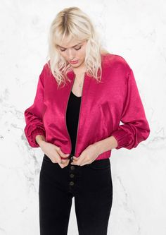 & Other Stories image 2 of Lustrous Cropped Bomber Jacket in Raspberry Red