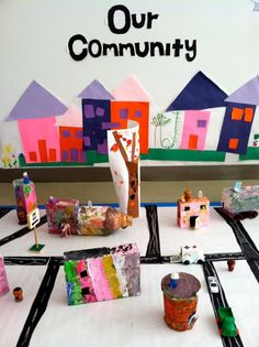 """""""Our Community"""" Children's Craft Project   Paper mache & paint what you see in your city."""