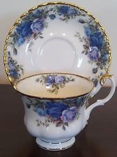 Moonlight Roses ROYAL ALBERT TEA CUP & SAUCER SET Victorian Blue ENGLAND