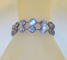 Sterling Silver Bracelet Blue Dentelle by GrapenutGlitzJewelry