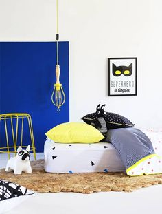 How gorgeous is this beautifully styled room from we even spy our crochet Bennet Bat by ladedahkids Kid Beds, Kidsroom, Color Splash, Ottoman, Toddler Bed, Kids Rugs, Neon, Interior Design, Children