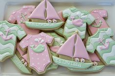 girl pink and mint nautical cookies