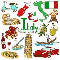 Coleção de ícones da Itália — Ilustração de Stock #49393653