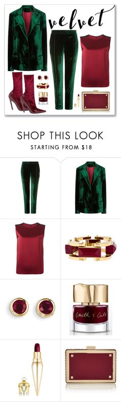 """Haider Ackermann Emerald Velvet Blazer & Pant Look"" by romaboots-1 ❤ liked on Polyvore featuring Haider Ackermann, Lele Sadoughi, Kevin Jewelers, Smith & Cult, Christian Louboutin and Valentino"