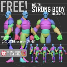 Stylized Strong Body Base Mesh - -You can find Zbrush and more on our website. Sculpting Tutorials, Eye Drawing Tutorials, Digital Painting Tutorials, Drawing Tips, Digital Paintings, Zbrush Character, 3d Model Character, Character Modeling, Character Art