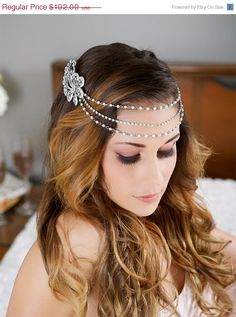 SALE, Silver Pearl and Crystal Chain Headpiece, Crystal Headdress, Pearl Hair Chain, swag, tiara, Bridal Halo, Headpiece, Bridal Head Piece on Etsy, $91.80