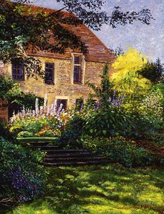 Manor House Steps Painting by David Lloyd Glover