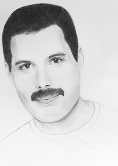 Freddie Mercury (Queen) pencil portrait by Gabriella
