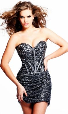Black Strapless Tight Short/Mini Crystal Prom Dress PD2E6A