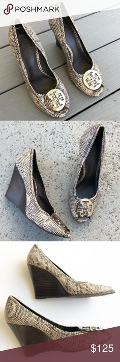 aacaa831fb80 Tory Burch Julianne Snakeskin Open Toe Wedge Tory Burch Julianne snakeskin  open toe wedges in size Shoes are in excellent gently used condition with  some ...