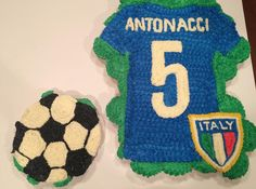Soccer Jersey and Ball Cupcake Cake