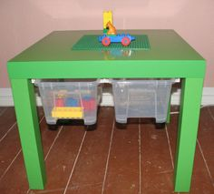Neat idea with ikea lack table for kids toy storage - great for a Lego table Petite Table Ikea, Ikea Table, Ikea Hacks, Mesa Lego, Ikea Decor, Lego Storage, Table Storage, Hidden Storage, Child Room