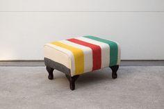 Custom Upholstered Hudson Bay Wool Blanket Ottoman, $250