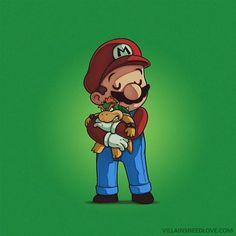 Villains need Love, projeto de ilustrador mostra afete entre heróis e vilões. Super Mario Bros, Bowser, videogame, clássicos nerds