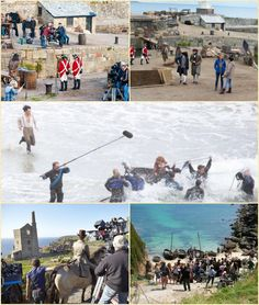 Filming on set of BBC Poldark, Cornwall.