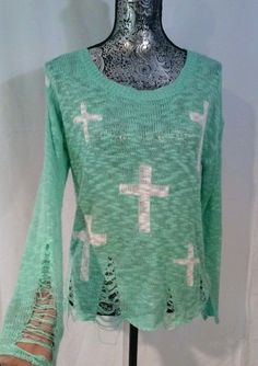 AQUA HOBO BOHO CROSSES DISTRESSED RIPPED KNIT PULLOVER SWEATER SLOUCHY SHEER TOP #Unbranded #Sexy