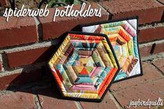 spiderweb potholders tutorial | Jaybird Quilts