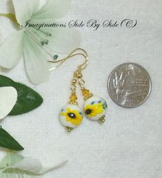 Petite Earrings Sunflower Hand-Painted Porcelain Swarovski Sunflower Yellow Crystal Dangle Artisan Gold  Hypo Allergenic Earwires $3.95 #MarieADawson